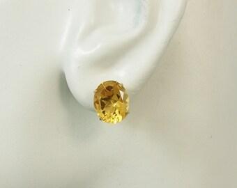 14K Gold Post Golden Topaz Oval Gemstone Earrings P14K12X10OVGT