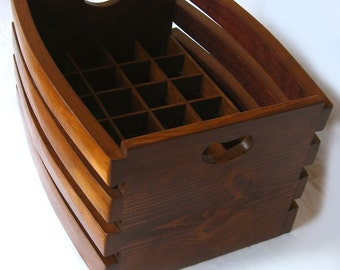 The Barrel Crate, recycled wine barrel staves beer or wine stackable crate, carrier. Mahogany or Golden oak color