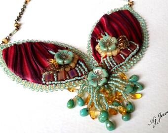Red Shibori Silk Necklace