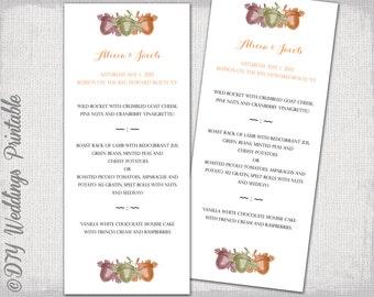 """Fall Wedding menu template -""""Acorns"""" printable menu -DIY wedding menu,woodland digital YOU EDIT menu -Editable word template download"""