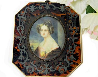 Early 19th Century Antique Miniature Portrait Painting Lady with a Rose Signed