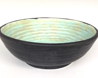 Bowl with Black and Turquoise Glazes