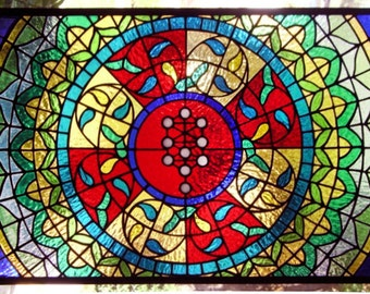 "Stained Glass Window Panel--Kabbalah Tree Geometric-18"" x 34 7/16"""
