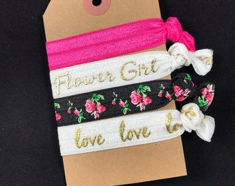 Flower Girl - Will you be my gift - Will you be my flower girl - Hair tie favor - (pink floral & gold or silver)