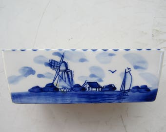 Hand Painted Blue and White Delft Rectangular Dish