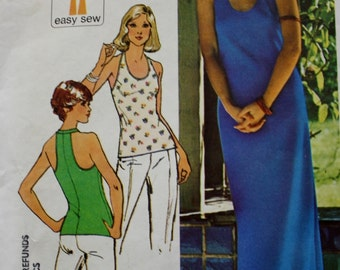 Simplicity 6443 1970s Pullover T Shirt or Maxi Dress Vintage Sewing Pattern Racerback Tee' UNCUT Bust 31.5