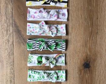 St Patricks Day Top Knot Headband in Organic Cotton - You Choose Print