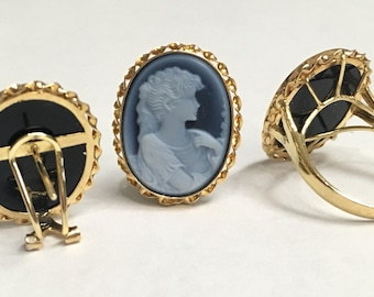 14K Yellow Gold German Agate Cameo Set