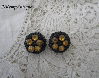 French earrings 1930's beaded clip ons