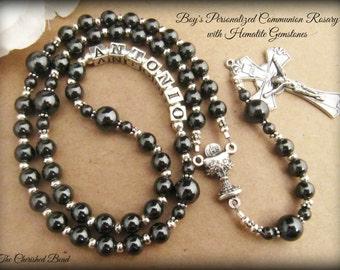 Beautiful Boy's First Communion Personalized Hematite Gemstone Rosary