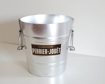 Vintage French advertised Champagne cooler bucket PERRIER JOUET Stirrup handles !
