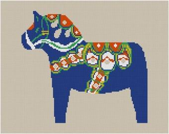 Cross stitch pattern DALA HORSE - blue,Scandinavian,cross stitch,needlepoint,embroidery,diy,burlap,burlap pillow,hessian,swedish,Anette E