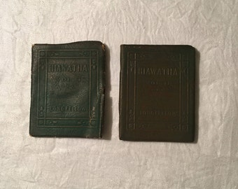 Song of Hiawatha - Vol 1 & 2 - Little Leather Library Book - Antique Books - 1920s