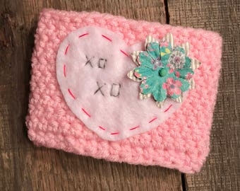 XOXO Heart Coffee Cup Cozy / Reusable Cozy / Crochet Coffee Sleeve