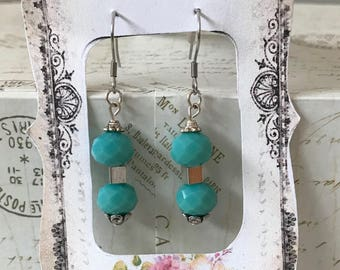 10X12 Turquoise Blue faceted bead earrings