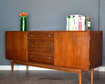 Vintage Danish style walnut and brass sideboard. Delivery. Modern / Midcentury.
