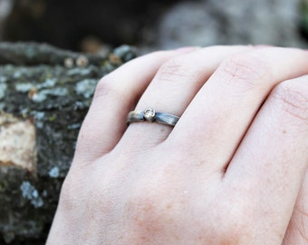 Sterling Silver Champagne CZ Solitaire Ring size 7