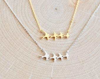 Flock of Birds Necklace, Sterling Silver Flying Birds Necklace, Dainty Jewelry, Minimalist Jewelry, Jamber Jewels 925
