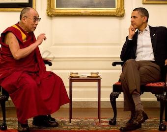 Dalai Lama meeting with President Barack Obama art Wall art 8x10 photo poster print