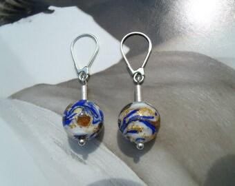 Murano glass beads cobalt blue gold earrings