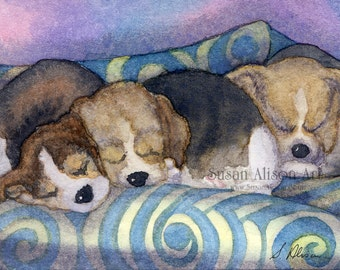 Beagle scent hound dog 5x7 8x10 11x14 print pups fast asleep on sofa sleeping on couch dreaming puppies frm Susan Alison watercolor painting