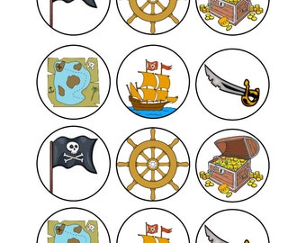 Edible Pirate Themed Cupcake Toppers