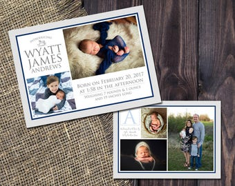 BABY ANNOUNCEMENT CARD - Digital jpeg File! | New Baby Card | Family Photo Cards