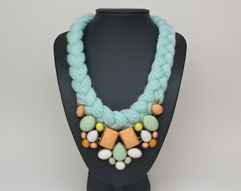 Light Blue colorful Knitted Necklace, Knitted Jewelry, Knitted Accessory Chunky Necklace Jewelry,Fashion jewelry