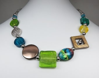 LIQUIDATION - Glass necklace, shell, pewter and resin, turquoise, lime green
