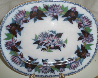 Vintage Flow Blue Platter Beautiful Bright Colors ~ Water Lilies? ~ Circa 1920's?