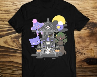 House of Ghost Pokemon T-Shirt Trevenant, Pumpkaboo, Chandelure, Litwick, Mimikyu, Mismagius, Haunter, Drifloon, Banette,-Duskull Inksterinc