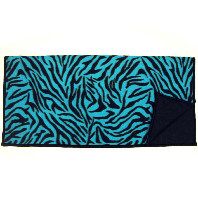 Spartan Fleece Saddle Cover Animal Print: Fleece WESTERN SADDLE BLANKET Blue Black Zebra Print By
