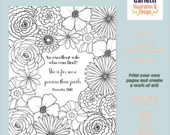Bible Verse Coloring Page, Proverbs 31 Coloring Page, Christian Woman, Scripture Coloring Page, Flower Coloring Page, Adult Coloring Page