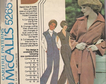1976 Sewing Pattern McCall's 5265 Misses jumpsuit size 12-14-16 bust 34-38