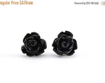 25%OFFSALE Tiny Black Rose Earrings, Halloween Jewelry, Bridesmaids Gift, Under 5