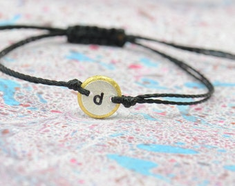 Sterling silver and gold friendship letter  bracelet