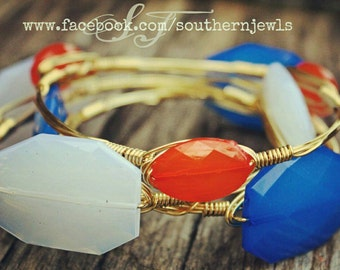 Wire Wrap Bangles, Florida Gators Stack, Blue,White,Orange Translucent, Set of 3,Gold Wire, Faceted, Baubles, Game Day, Fashion, Gift Ideas.