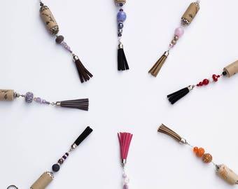 Wine cork keychain, purse accessory, rearview mirror charm