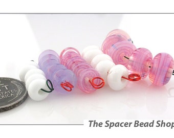 PINK CLOUDS White HALF Bead Sets Lampwork Spacers Glass Handmade - The Spacer Bead Shop