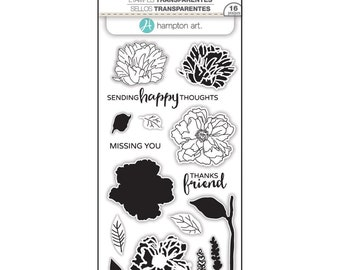 Hampton Art LAYERING Stamps - FLOWER HAPPY clear stamp set - Missing You Thanks friend Sending Happy Thoughts - CS140