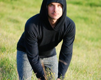 Hoodie for Men in Black Organic Cotton Hemp Jersey - Eco Friendly - Sustainable - Organic Clothing OxQ7jYuw