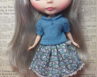 BLYTHE DOLL-- knit sweater and Liberty Japan Print Skirt Set Only --No Doll