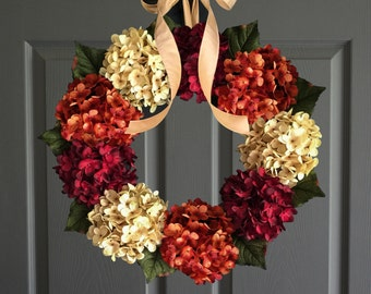 Fall Hydrangea Wreath for Door | Front Door Wreaths | Outdoor Wreath | Fall Wreaths | Summer Wreath | New Home Housewarming Gift