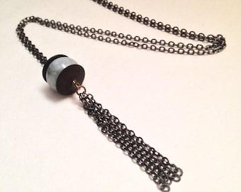 Ten Of Swords Natural Blue Aquamarine Gemstone Handmade Antiqued Brass Amulet Tassel Necklace |  Witch Occult Tarot Solstice | Minimalist II