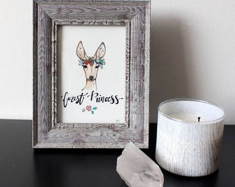ORIGINAL framed watercolor painting - Forest Princess