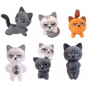 cat garden decor. 1Set / 6pcs Resin Grumpy Cat Micro Landscape Garden Decorations Miniature Craft Home Decor Random Color T