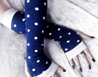 Set Sail Arm Warmers | Navy Blue White Polka Dots Cotton | Yoga Nautical Pin Up Rockabilly Gothic Bohemian Boho Gypsy Cycling Light Hipster