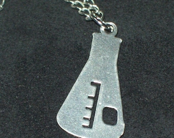 Gorgeous Geekery Chemistry Flask Silver Necklace - Beaker, Erlenmeyer, Laboratory