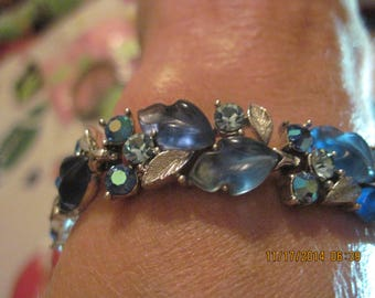 BEAUTIFUL Silver, Thermoset Blue & Swarvoski Crystal Leaves Bracelet..Rescued/Upcycled...7596..Gifts 4 Her,Gifts 4 Mom,Retro Girl,