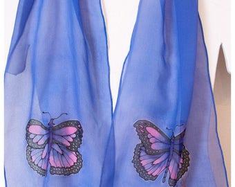 """Butterfly Silk Scarf. 10x58"""" chiffon silk. Monarch Butterfly silk scarf~Hand-painted silk scarves~Painted silk scarf~Hand painted silk scarf"""
